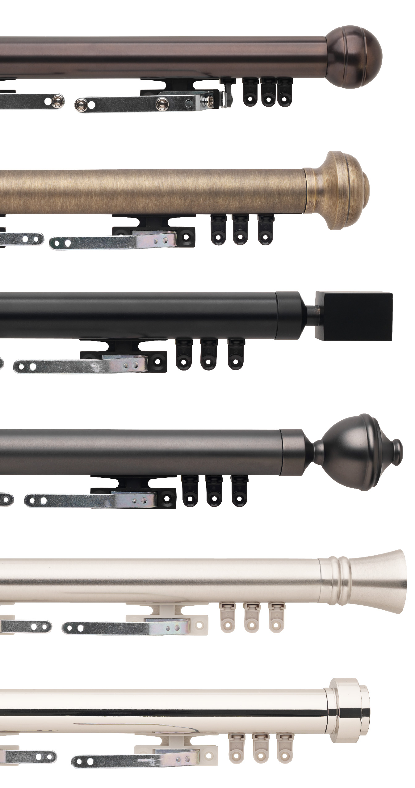 The six available finishes for the Select Metal Traverse Rod Sets. These finishes are Bronze, Brushed Brass, Matte Black, Graphite, Steel, Polished Nickel.